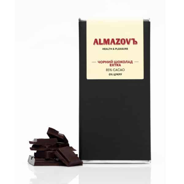 Чёрный шоколад Extra 85%, без сахара, Almazovъ